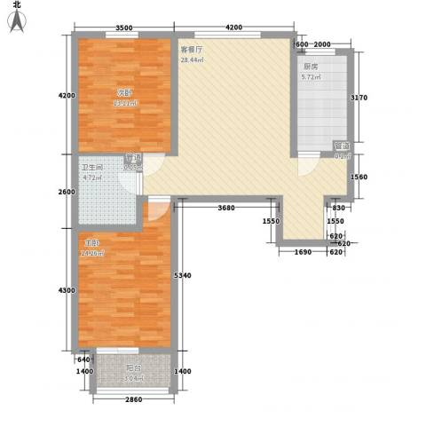 裕馨城二期2室1厅1卫1厨99.00㎡户型图