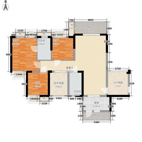 信义一号3室1厅2卫1厨141.00㎡户型图