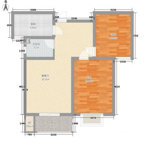 裕馨城二期2室1厅1卫1厨90.00㎡户型图