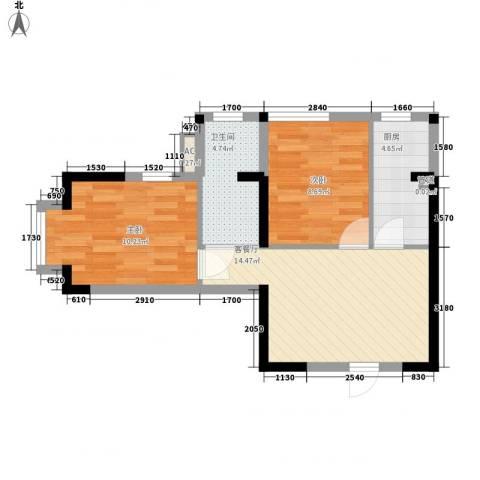 信义一号2室1厅1卫1厨62.00㎡户型图