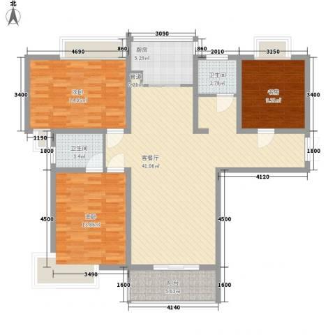 信义一号3室1厅2卫1厨136.00㎡户型图