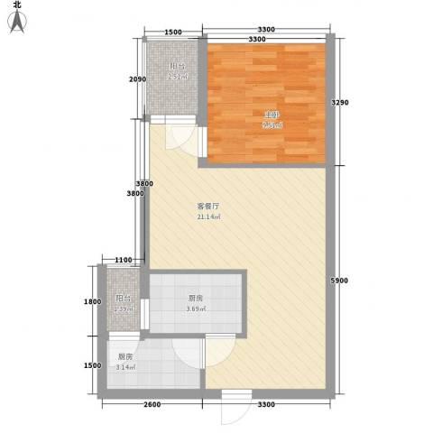 金领家族1室1厅0卫2厨54.00㎡户型图