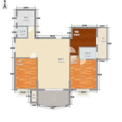 金色比华利3室1厅2卫1厨129.00㎡户型图