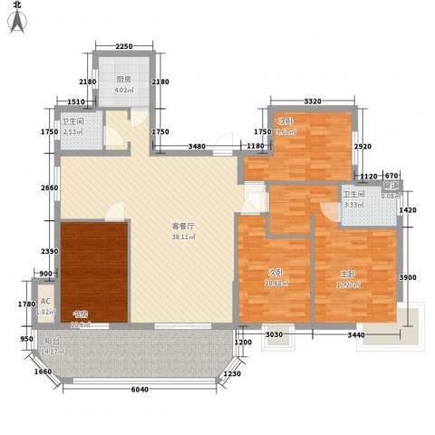 金色比华利4室1厅2卫1厨157.00㎡户型图