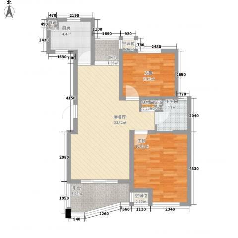 荣域飘鹰锦和花园2室1厅1卫1厨89.00㎡户型图