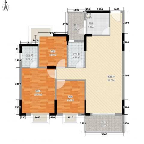 桃源居3室1厅2卫1厨112.00㎡户型图