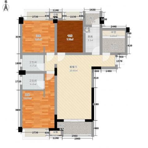 未来锦城3室1厅2卫1厨115.00㎡户型图