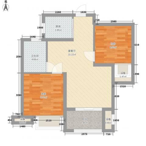 锦绣天下2室1厅1卫1厨78.00㎡户型图