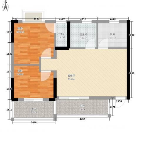 滨江瑞城2室1厅2卫1厨91.00㎡户型图