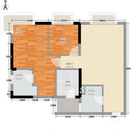 滨江瑞城2室1厅2卫1厨86.00㎡户型图
