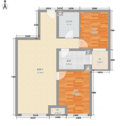 锦绣园自住型商品房2室1厅1卫1厨88.00㎡户型图