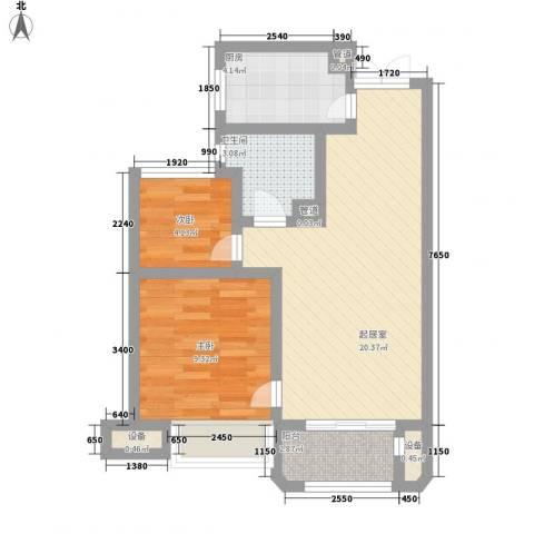 金浦御龙湾2室0厅1卫1厨68.00㎡户型图