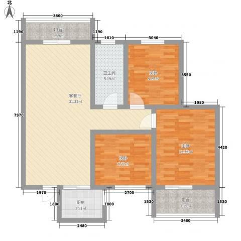 碧玺华庭3室1厅1卫1厨116.00㎡户型图