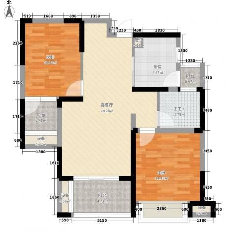 书香门第2室1厅1卫1厨85.00㎡户型图