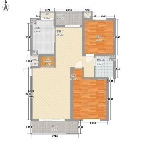 南浩花园2室1厅1卫1厨79.51㎡户型图