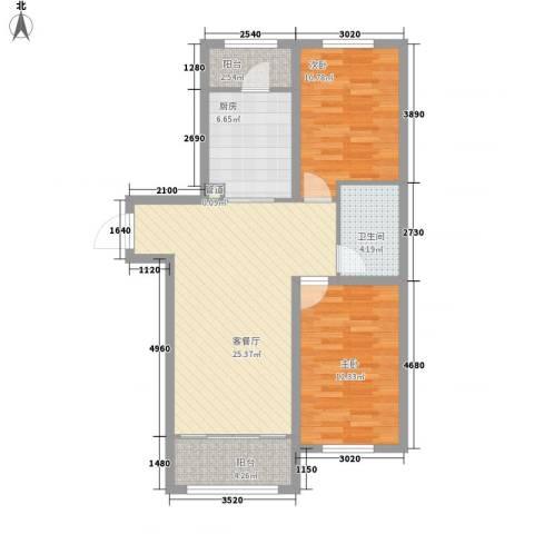 明光水岸2室1厅1卫1厨66.21㎡户型图