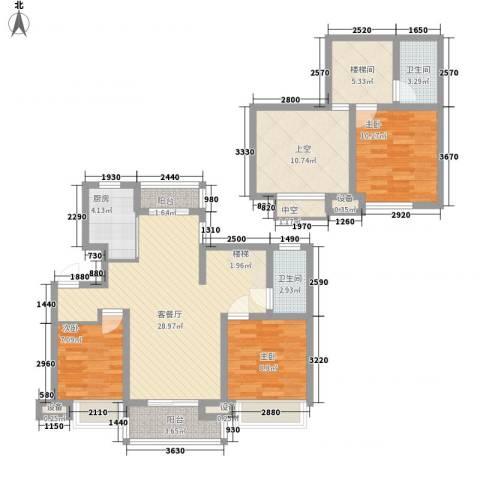 锦绣天下3室1厅2卫1厨130.00㎡户型图