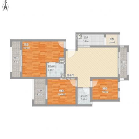 银溪春墅3室1厅2卫1厨126.00㎡户型图