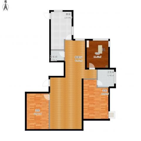 左岸慧晶峰境3室1厅2卫1厨155.00㎡户型图