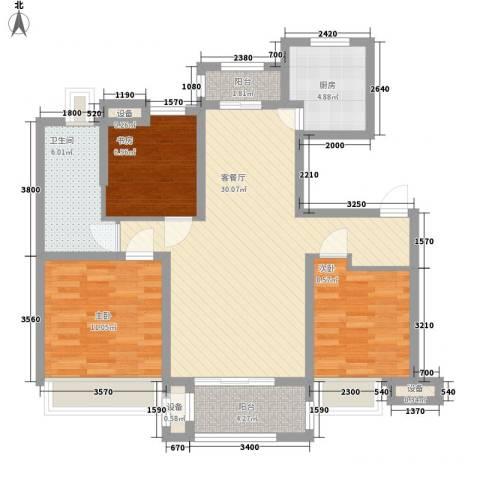 锦绣天下3室1厅1卫1厨110.00㎡户型图