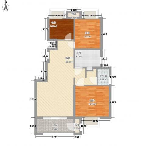 锦绣天下3室1厅1卫1厨90.00㎡户型图