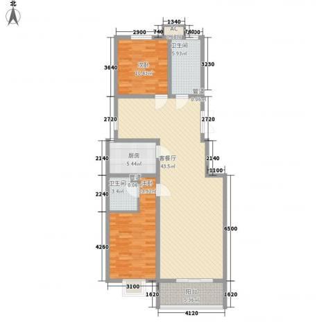 裕馨城二期2室1厅2卫1厨115.00㎡户型图