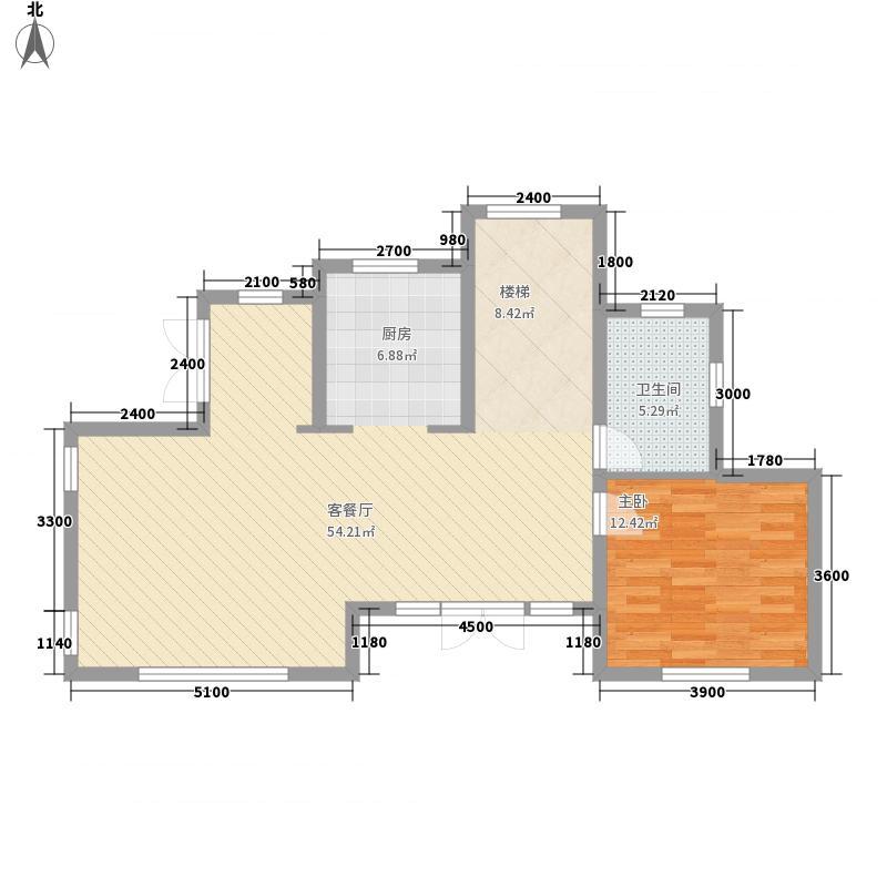 一渡新新小镇6.00㎡四期独栋D平面图户型1室1厅1卫1厨