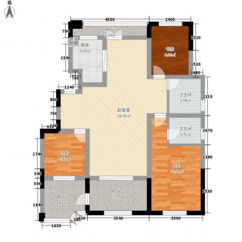金浦御龙湾3室0厅2卫1厨122.00㎡户型图