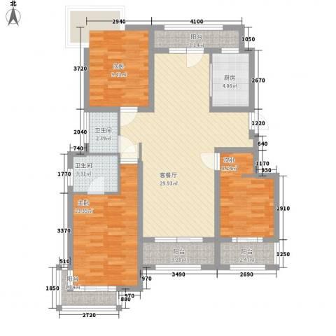 锦绣天下3室1厅2卫1厨120.00㎡户型图