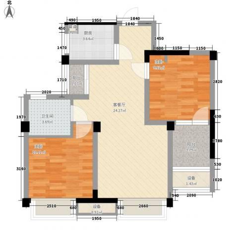 未来锦城2室1厅1卫1厨85.00㎡户型图