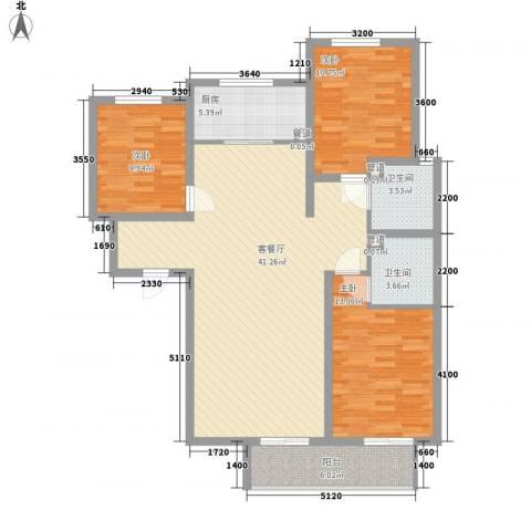 裕馨城二期3室1厅2卫1厨137.00㎡户型图