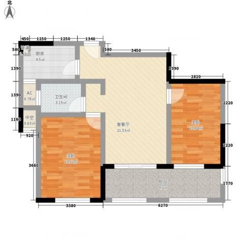 万宇御湖郡2室1厅1卫1厨95.00㎡户型图