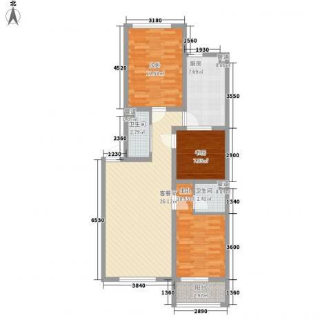 龙城御苑3室1厅2卫1厨84.21㎡户型图