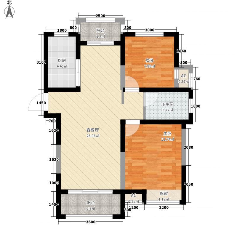 金宏豪庭88.86㎡二期1#D1户型2室2厅1卫1厨
