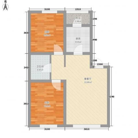 首创光和城2室1厅1卫1厨77.00㎡户型图