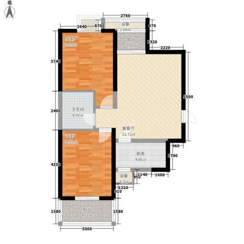 天朗大兴郡2室1厅1卫1厨78.00㎡户型图