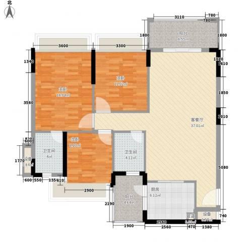 桃源居3室1厅2卫1厨118.00㎡户型图