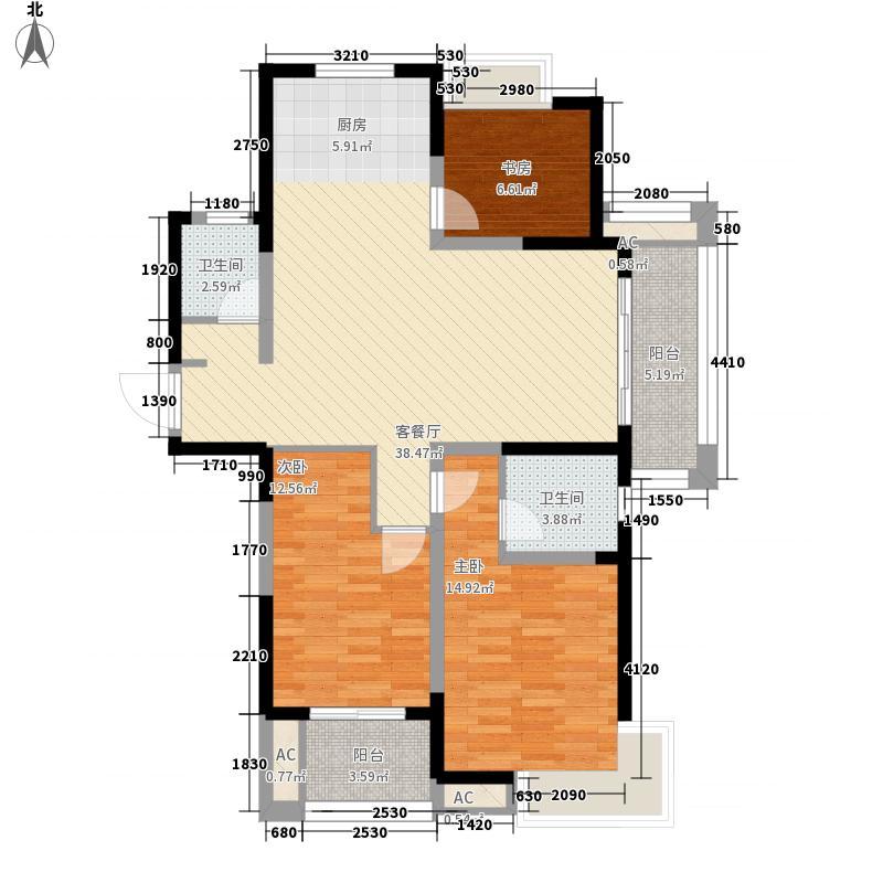 正祥梧桐水岸130.00㎡三期B-3户型3室2厅2卫