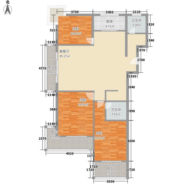 水景明珠161.00㎡三期D8户型3室2厅2卫1厨