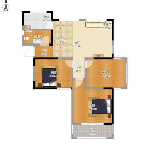 禹洲翡翠湖郡2室1厅1卫1厨119.00㎡户型图