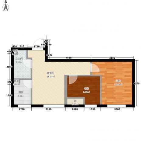 假日国际2室1厅1卫1厨65.00㎡户型图