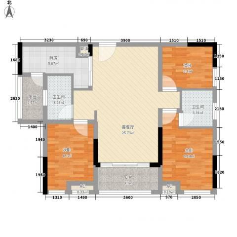 鸿翠阁3室1厅2卫1厨105.00㎡户型图