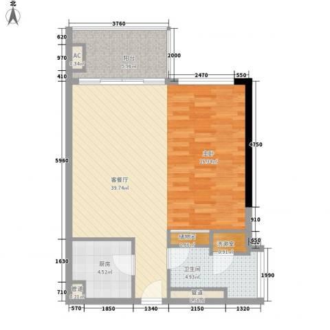 海印星玥1厅1卫1厨81.00㎡户型图