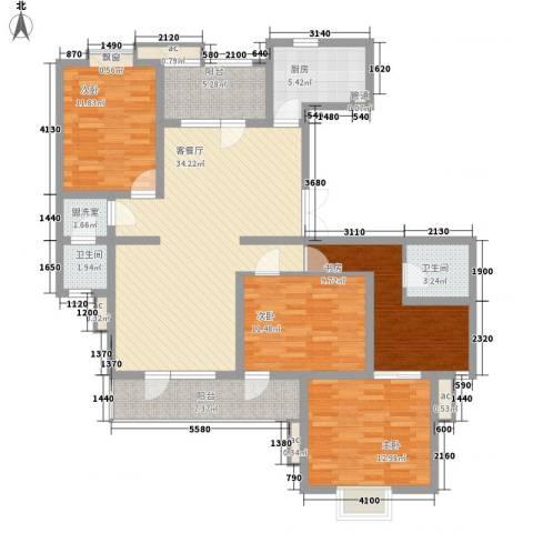 鼎鑫名流苑4室1厅2卫1厨158.00㎡户型图