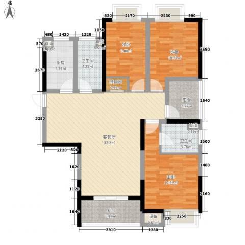 书香门第3室1厅2卫1厨122.00㎡户型图