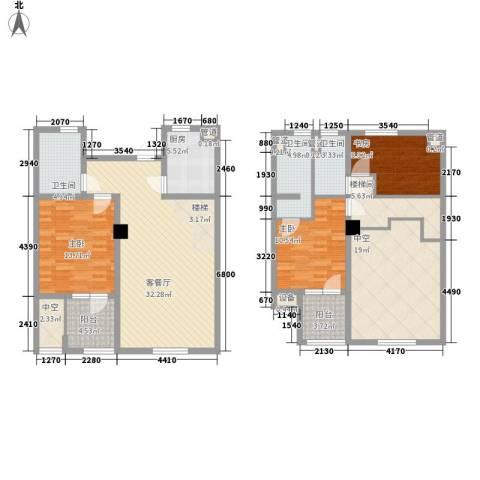 未来锦城3室1厅3卫1厨175.00㎡户型图