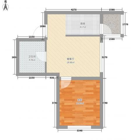 明光水岸1室1厅1卫0厨36.55㎡户型图