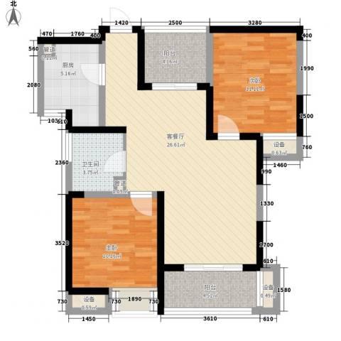 书香门第2室1厅1卫1厨89.00㎡户型图