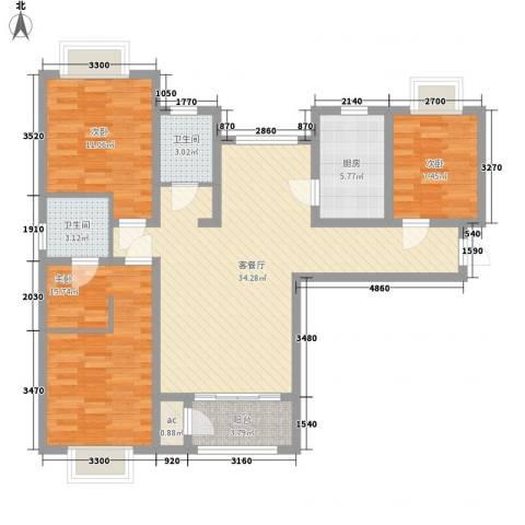 丽晶名邸3室1厅2卫1厨124.00㎡户型图