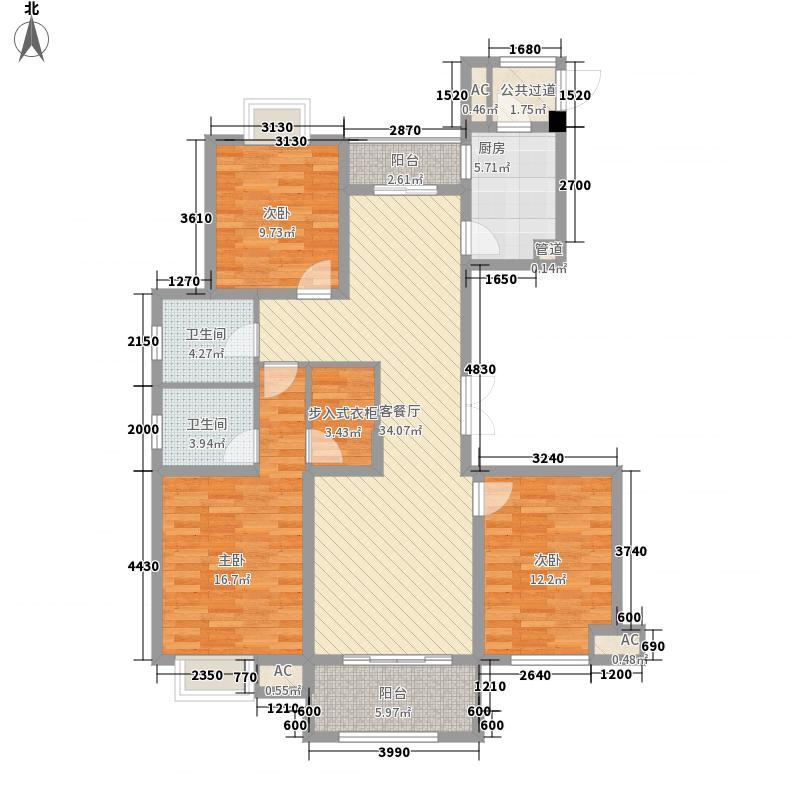 双汇国际148.36㎡L户型3室2厅2卫1厨